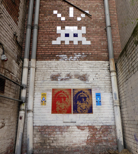 Invader, Donk and D7606, Manchester