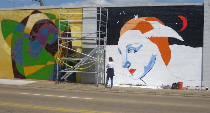 Neighbor Anna Carll and her mural...