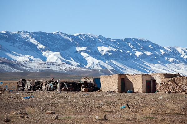 Schneefall im Atlas-Gebirge