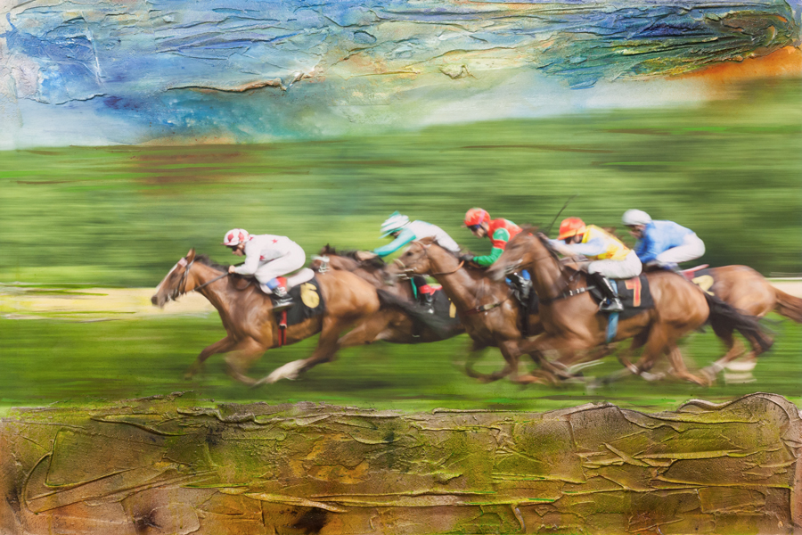 Hoppegarten, flying horses, Mitzieher, mixed media, Holger Nimtz, Galopprennbahn, Pferde, abstrakt,