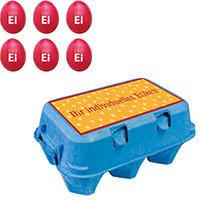 6er Ostereier Verpackung, Ostereier bedrucken, Ostereier mit Logo