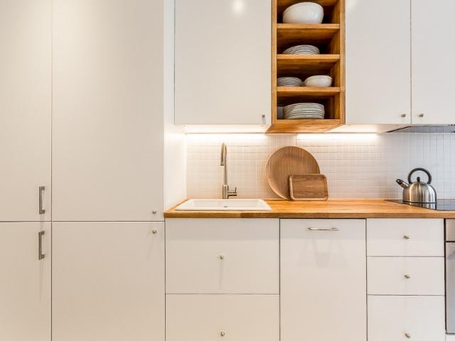Rénovation studio, couleurs cuisine