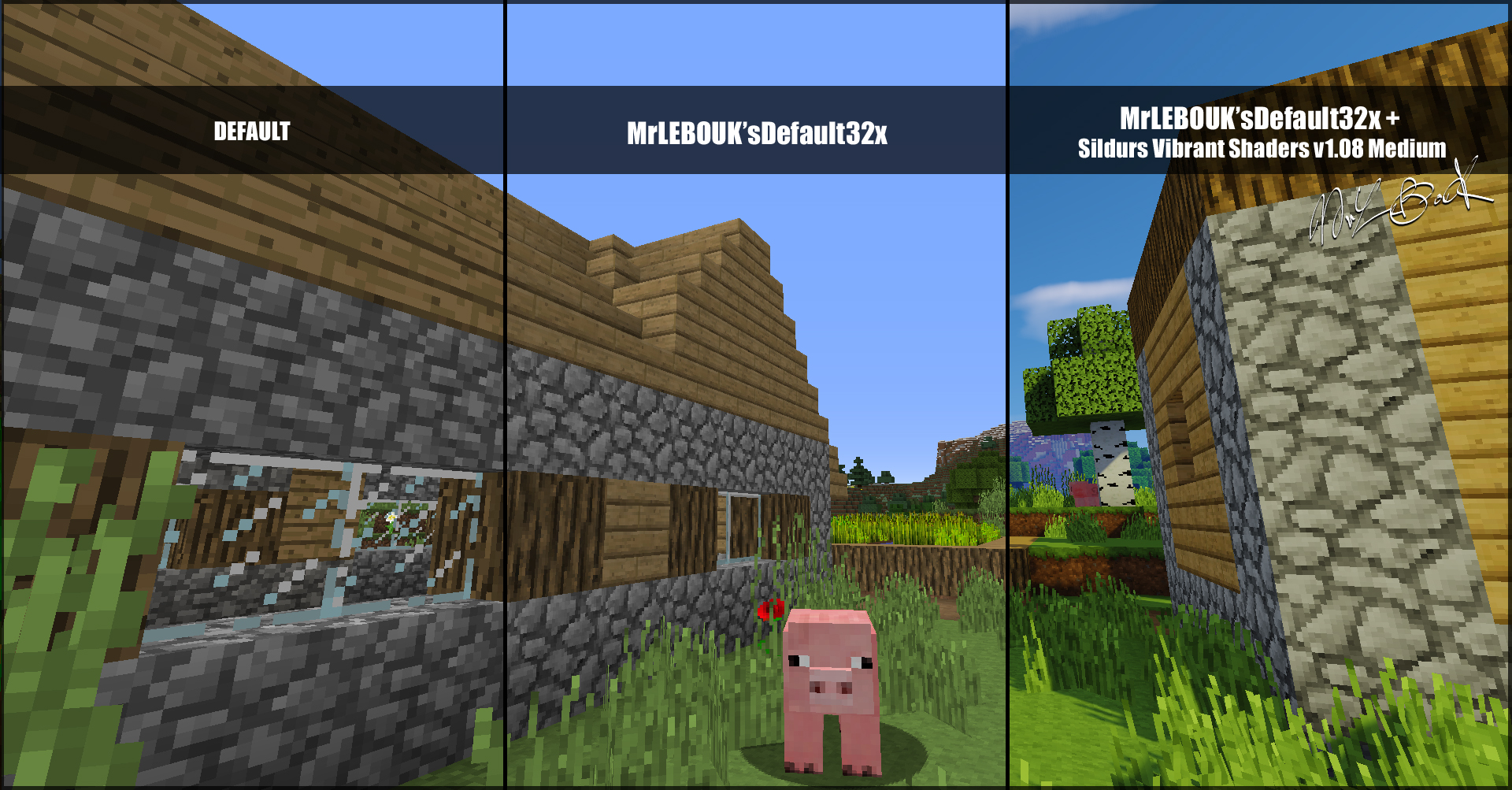 Village plaine et cochon : Resource pack minecraft MrLEBOUK'SDEFAUT32x