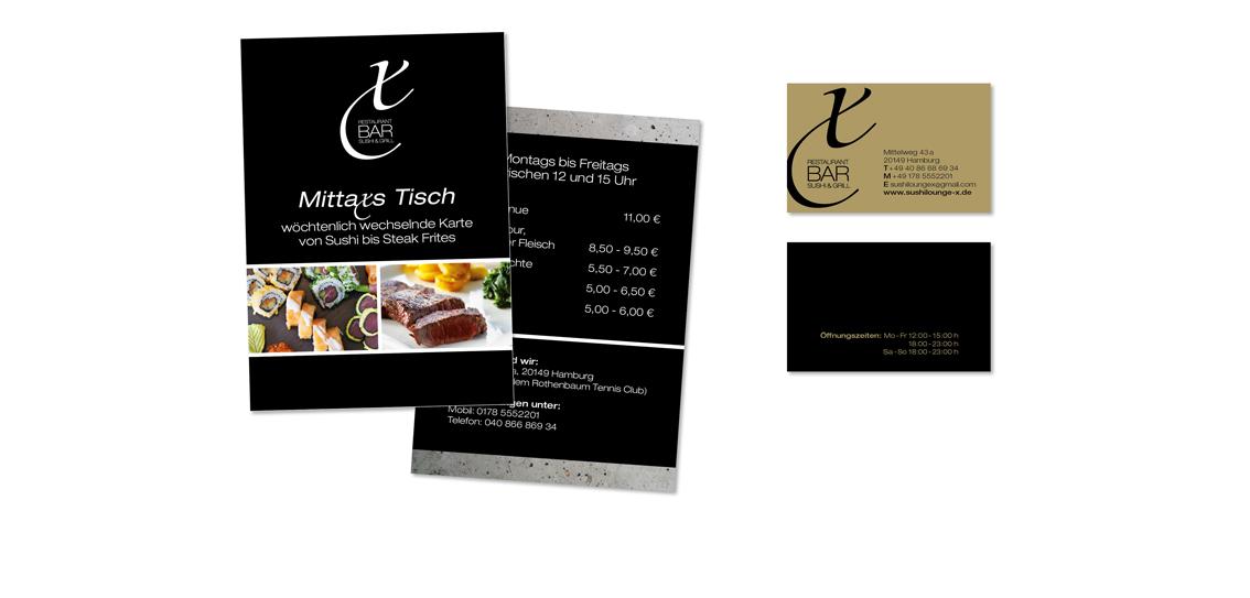 Flyergestaltung & Visitenkarten Relaunch | Kunde: Sushi Lounge X-Bar