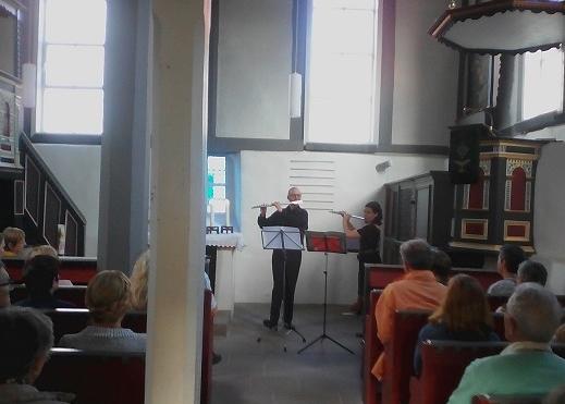 Das erste offizielle Konzert des Hartzer-Thuet-Querflötenduos, in der Bonaforther Kapelle am 4. September 2016.