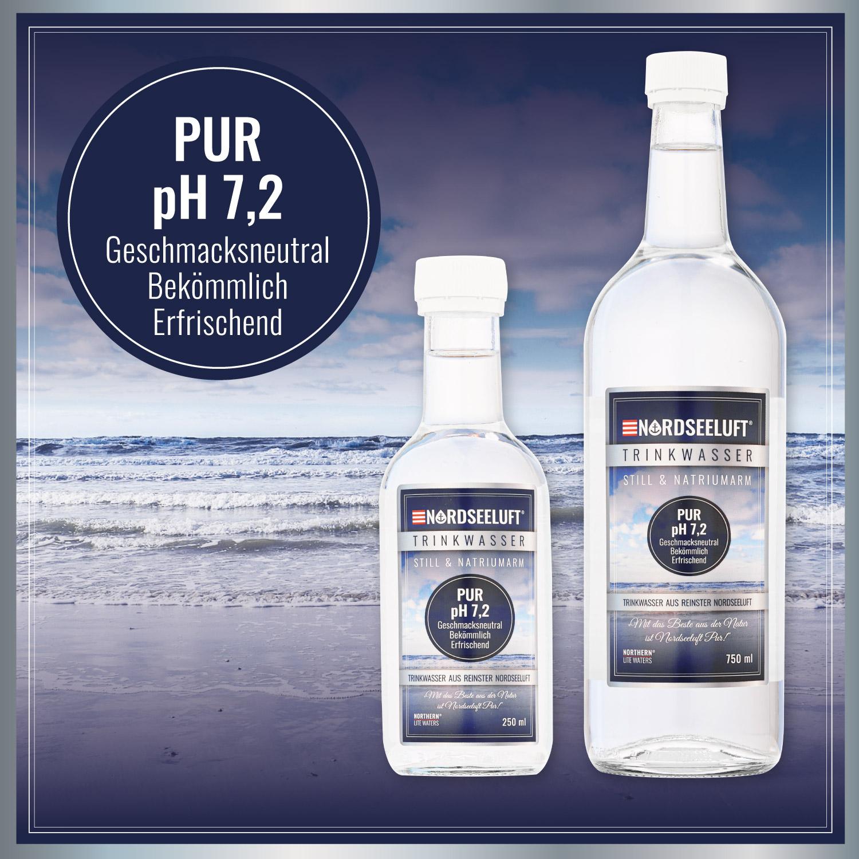 Nordseeluftwasser PUR - 250 ml | 750 ml Glasflasche