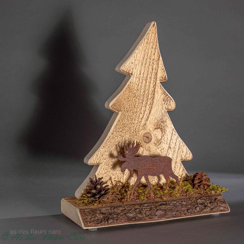 Sapin bois renne métal socle bois