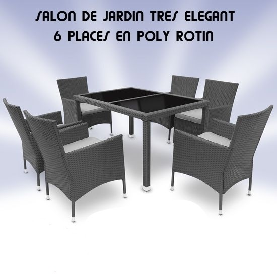 Salon de jardin 6 places en poly rotin gris - Site Jimdo de ...