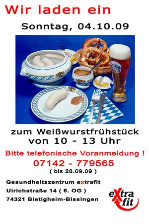 Weißwurstfrühstück im  extrafit Bietigheim-Bissingen, Fitnessstudio 50+