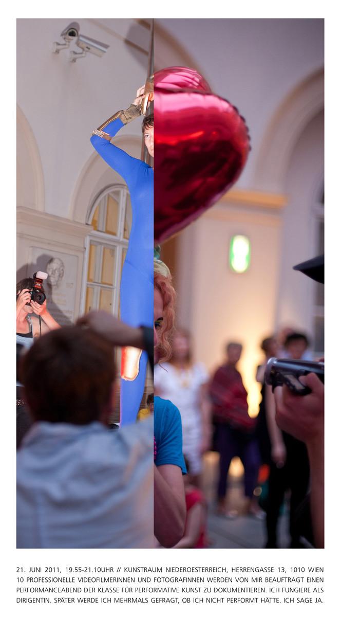 """Fotocollage, 105 x 63 cm, im Bild sind Performances von Nicole Sabella, """"… and then documentation took over"""" (links) und rechts von Bernadette Anzengruber, """"LOVE AND TEARS"""""""