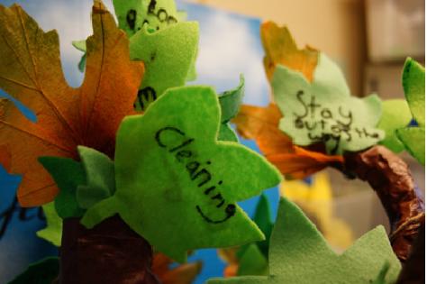 私が担っている仕事は・・ケアツリーは紙とフェルトで作ったヤングケアラーのシンボルツリー。葉っぱに家庭で担っている仕事を書いて枝に貼り付けます。「外で待っている」「お掃除をする」