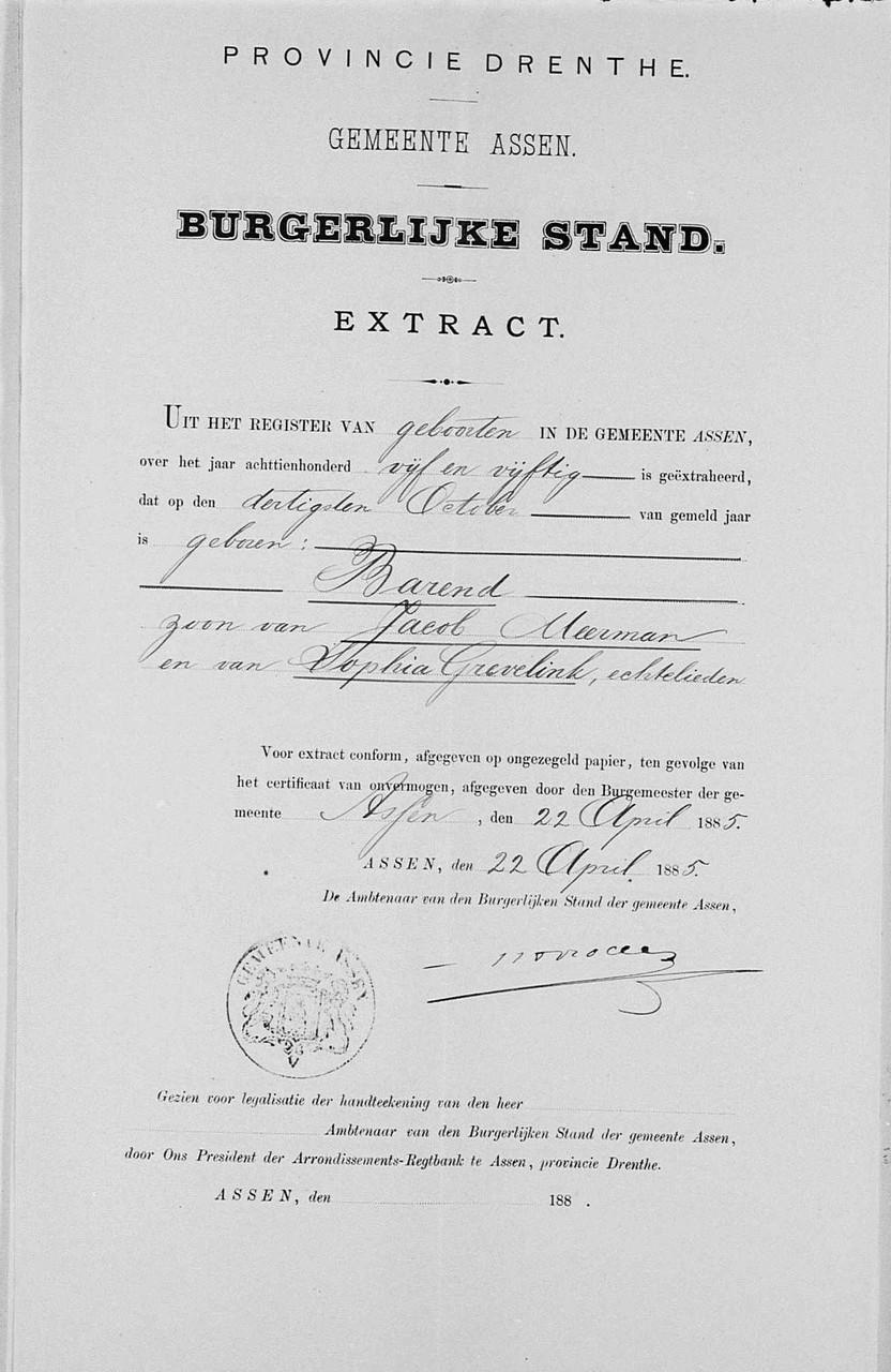 Geboortebewijs Barend