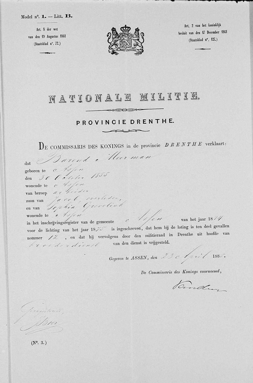 """Nationale Militie Barend moeilijk te lezen """"Broederdienst"""""""