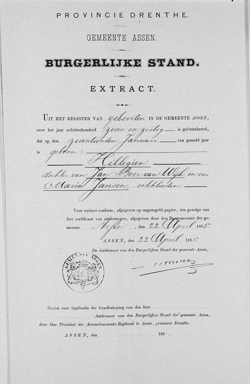 Geboortebewijs Hillegien