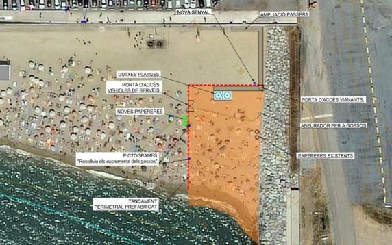 Plano de la reserva para perros prevista en la playa de Llevant en Barcelona