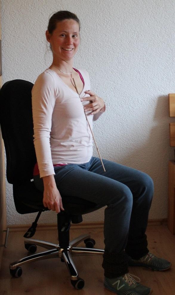 Bild 2: überaufrecht, zu viel Spannung im oberen Rücken