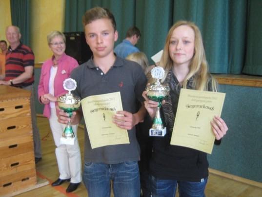 Die Schulsieger: Darleen Spiegel(8b) und Niklas-Ole Schröder(7b)