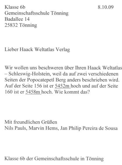 Das ist der Brief der drei Jungen an den Haack-Verlag