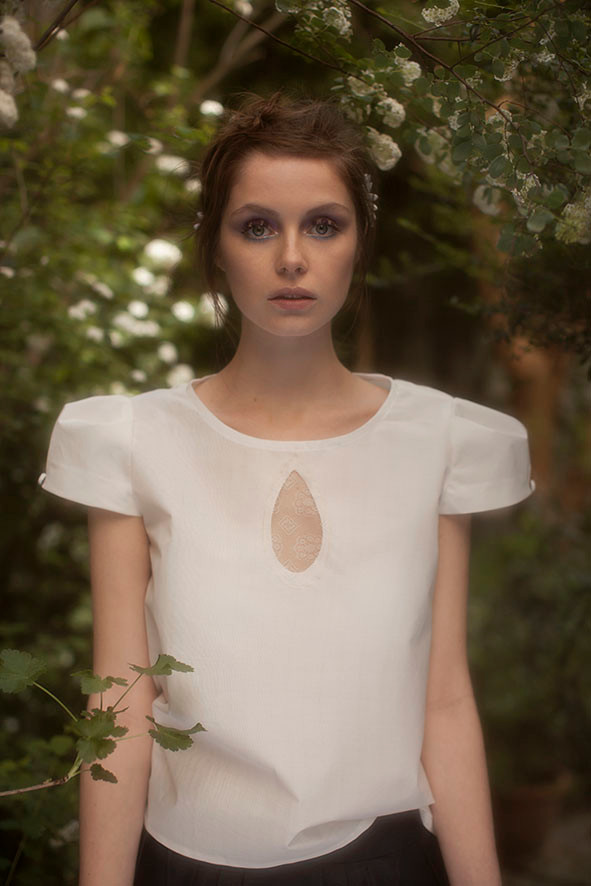 Marguerite : blouse goutte eau devant dos dentelle - Collection Romantic - Jeanne Berre