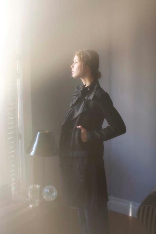 Héra : manteau-blouson, laine mélangée, satin - Jeanne Berre