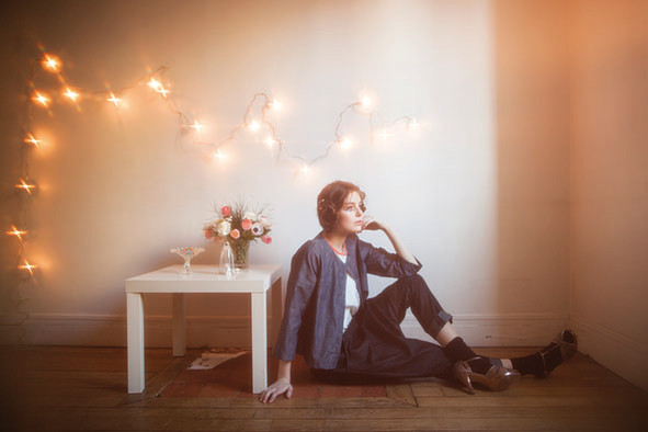 Amarante : veste 100% coton, Hippolyte : sarouel 100% coton - Collection Romantic - Jeanne Berre