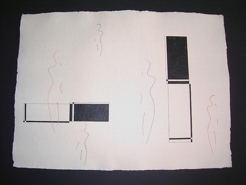 """""""Individualisten 5"""" / ca. 76 x 56 cm / 125,- € / Acrylmischtechnik auf handgeschöpftem Büttenkarton"""
