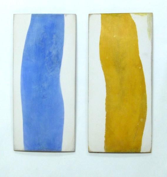 Doris Lidwina Strauß - Farbfluß gelb, Farbfluß blau.