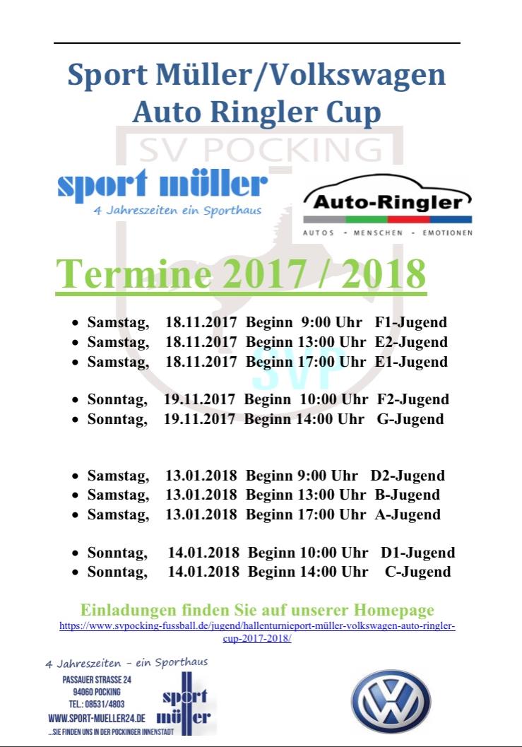 hallenturnieport müller/volkswagen auto ringler cup 2017/2018 - sv, Einladung
