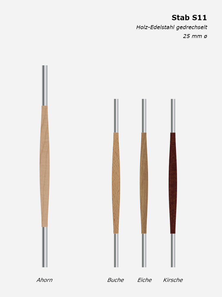 Geländerstab S09, Holz-Edelstahl gedrechselt, 25 mm ø