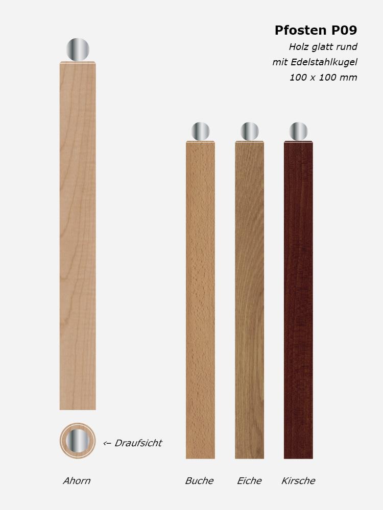 Treppenpfosten P09, Holz glatt rund mit Edelstahlkugel, 100 x 100 mm