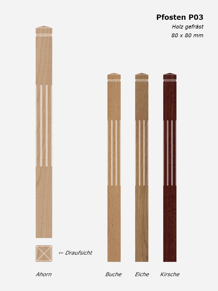 Treppenpfosten P03, Holz gefräst, 80 x 80 mm