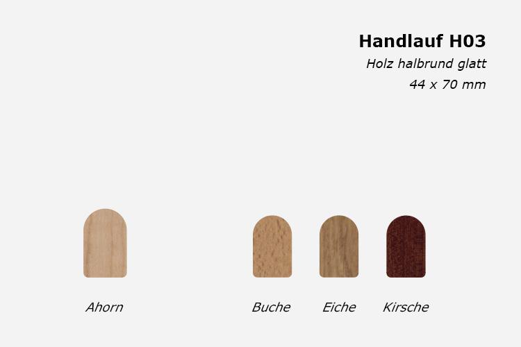 Treppenhandlauf H03, Holz halbrund glatt, 44 x 70 mm