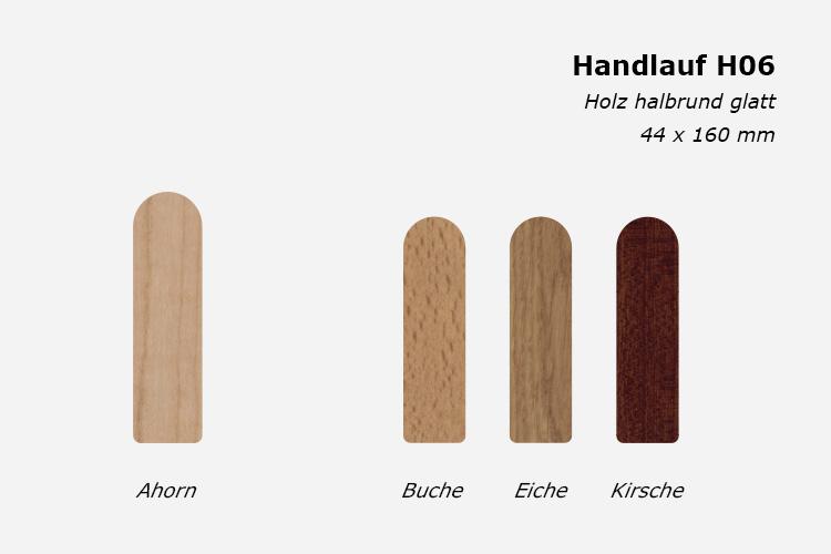 Treppenhandlauf H06, Holz halbrund glatt, 44 x 160 mm