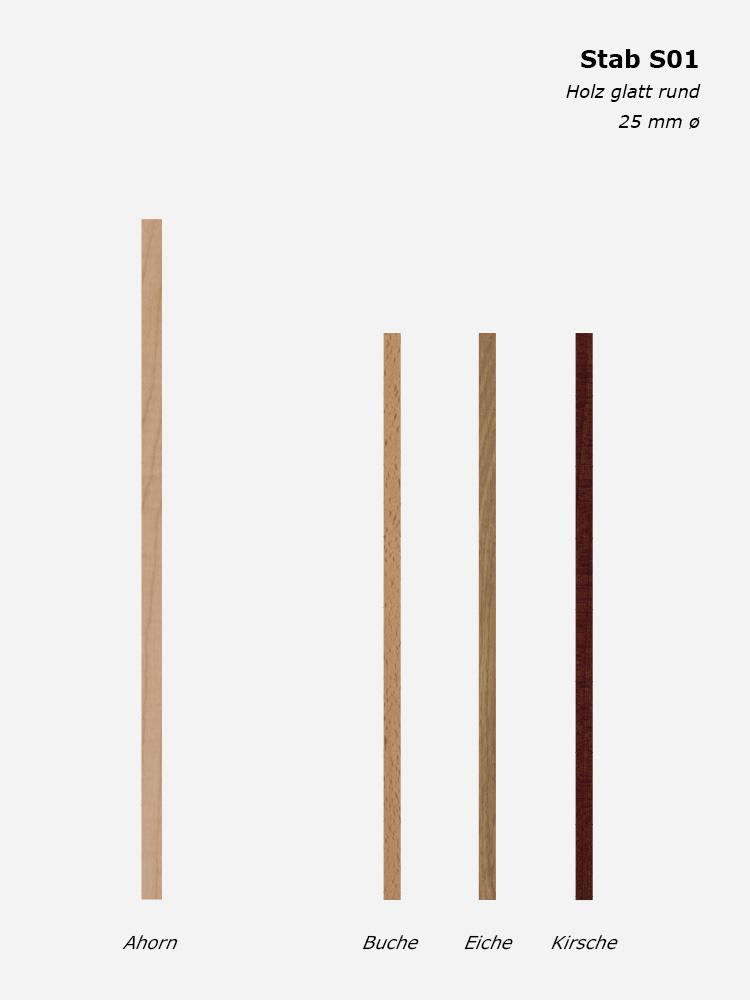 Geländerstab S01, Holz glatt rund, 25 mm ø