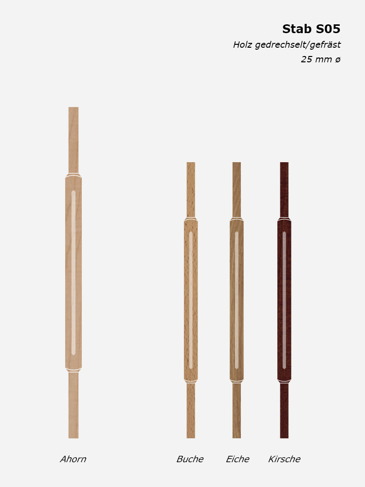 Geländerstab S05, Holz gedrechselt/gefräst, 25 mm ø