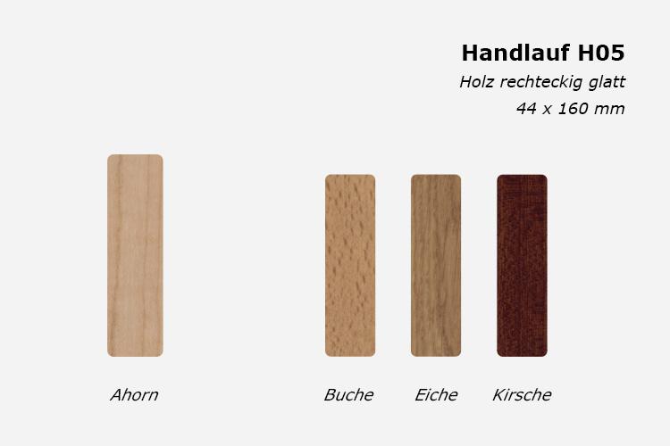 Treppenhandlauf H05, Holz rechteckig glatt, 44 x 160 mm