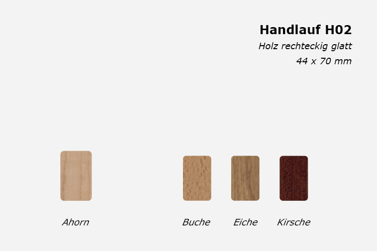 Treppenhandlauf H02, Holz rechteckig glatt, 44 x 70 mm