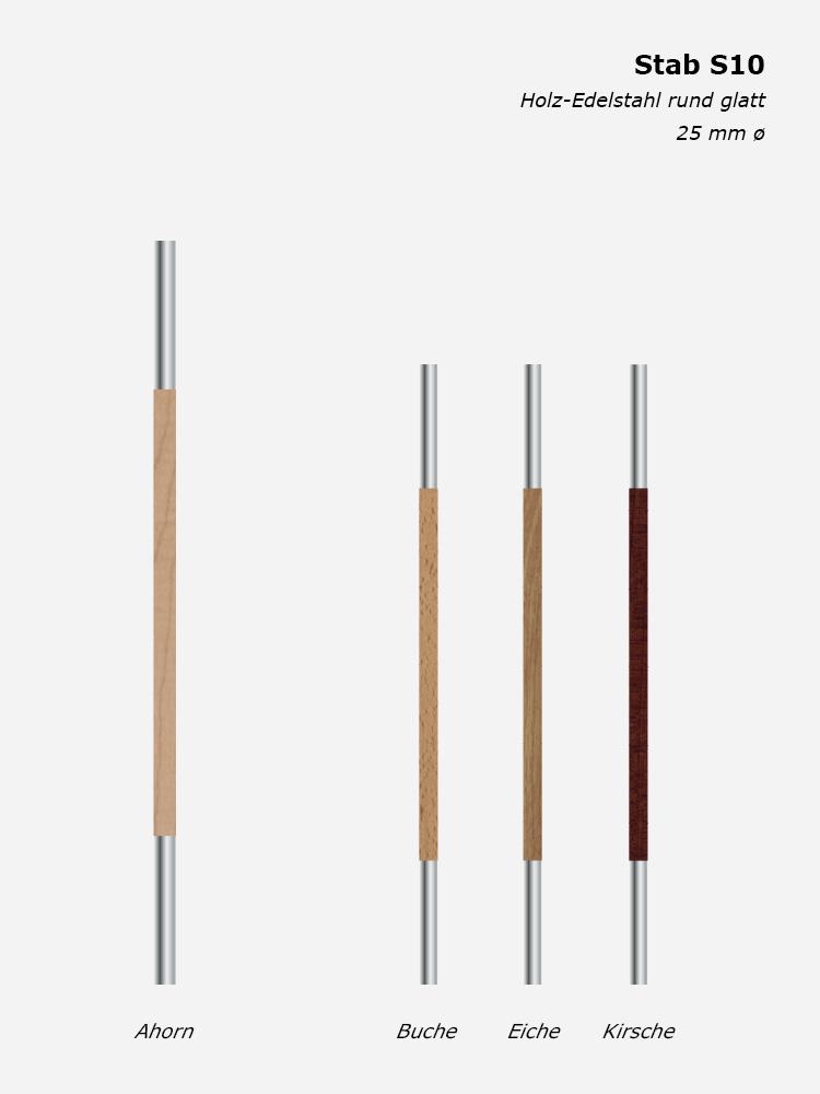 Geländerstab S10, Holz-Edelstahl rund glatt, 25 mm ø