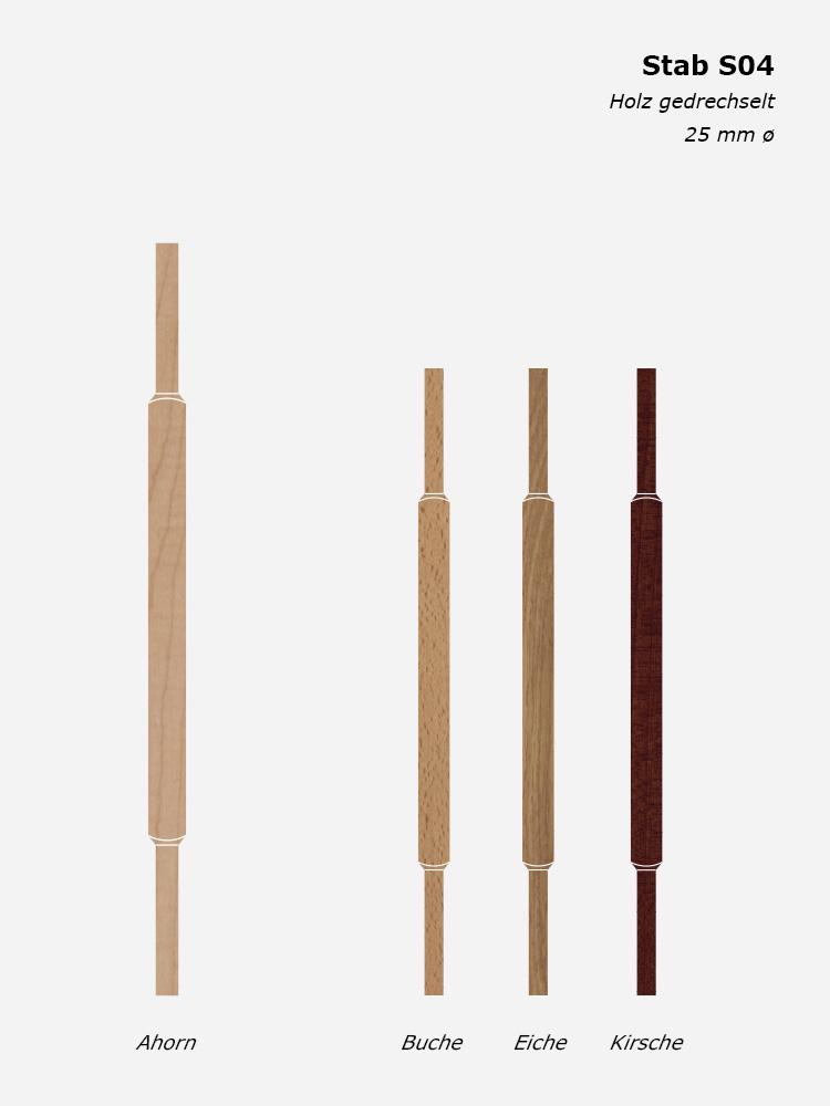 Geländerstab S04, Holz gedrechselt, 25 mm ø