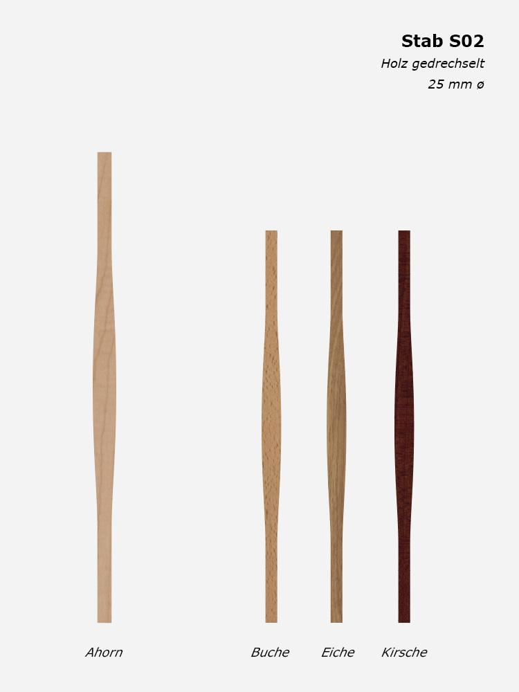 Geländerstab S02, Holz gedrechselt, 25 mm ø