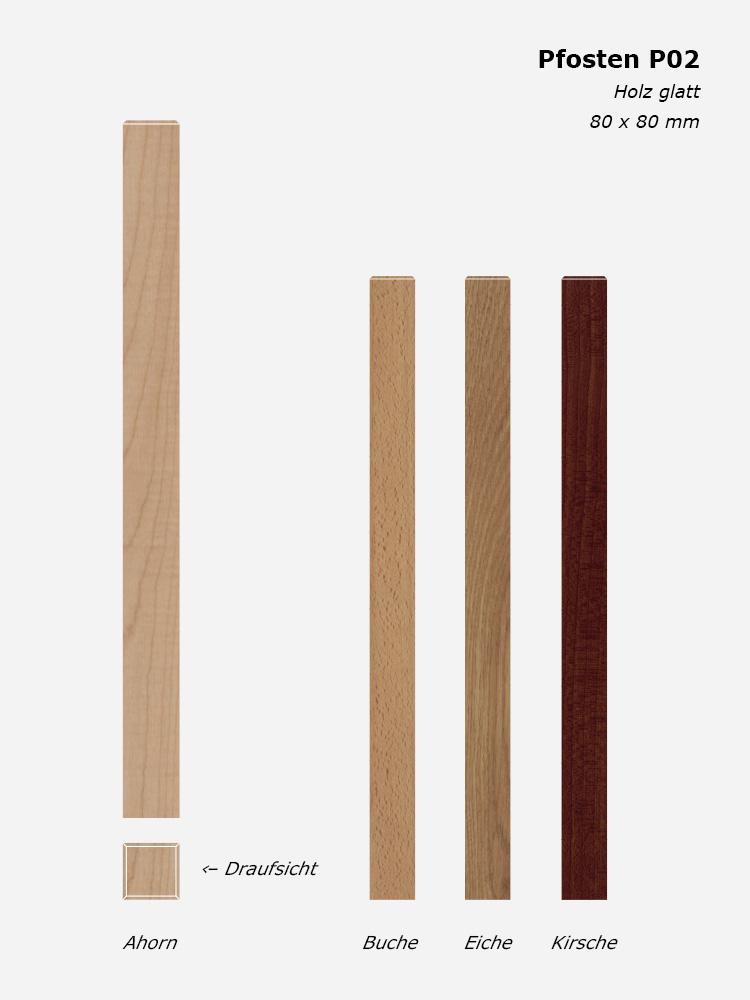 Treppenpfosten P02, Holz glatt, 80 x 80 mm