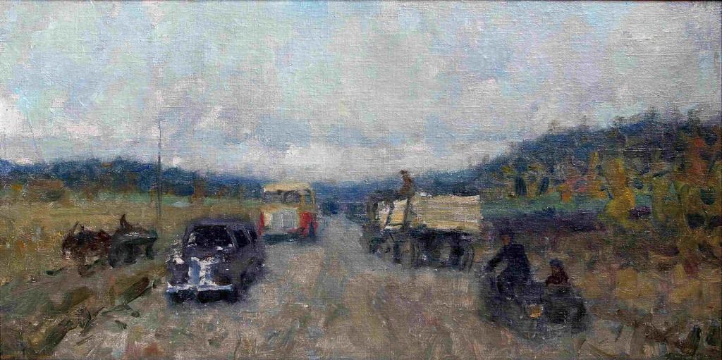 Виктор Зинов (1908-1991).    Челябинский тракт.     1953 г. Холст, двп, масло.         24х34,2 см.