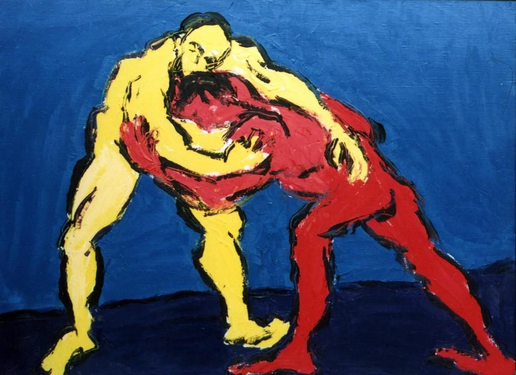 Сергей Лаушкин.     Борец и клоун.     2003 г. Холст, масло. 110х147 см.