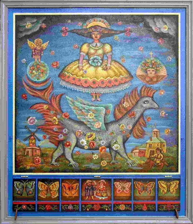 Юрий Гладонюк.    Ангелы и дракон.    1999 г. Оргалит, масло. 57х48 см.