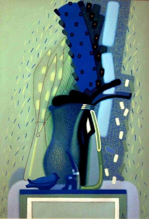 Василий и Любовь Анциферовы.    Натюрморт. Из серии «Воздух Франции».    2005 г. Бумага, смешан.техн. 80х50 см.