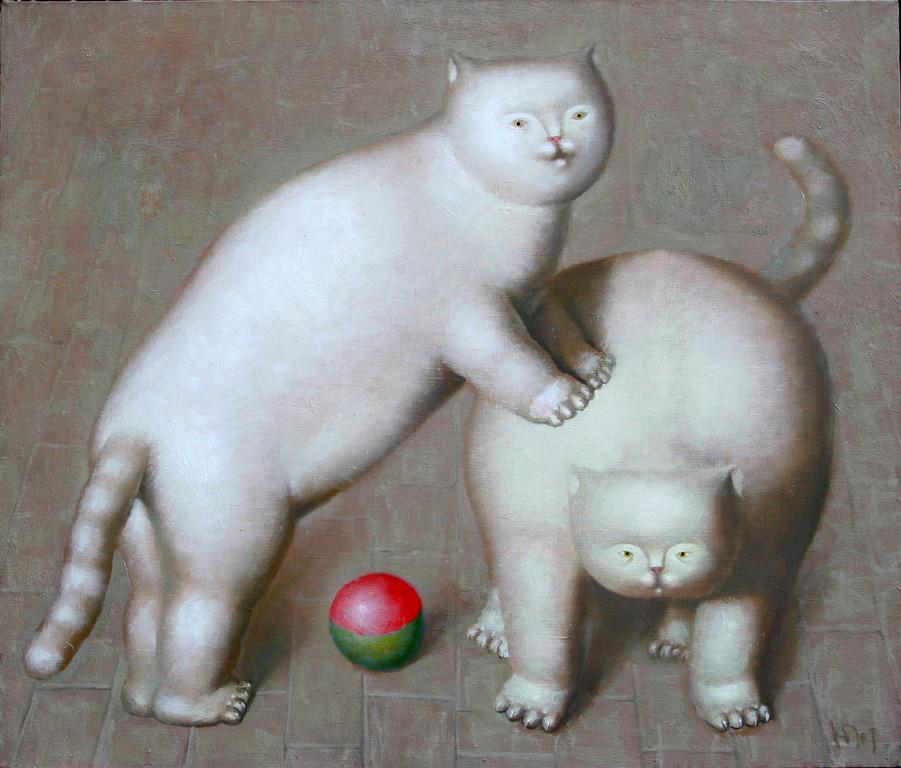 Юрий Первушин.       Играющие коты.       2009 г.      Холст, масло.     60х70 см.