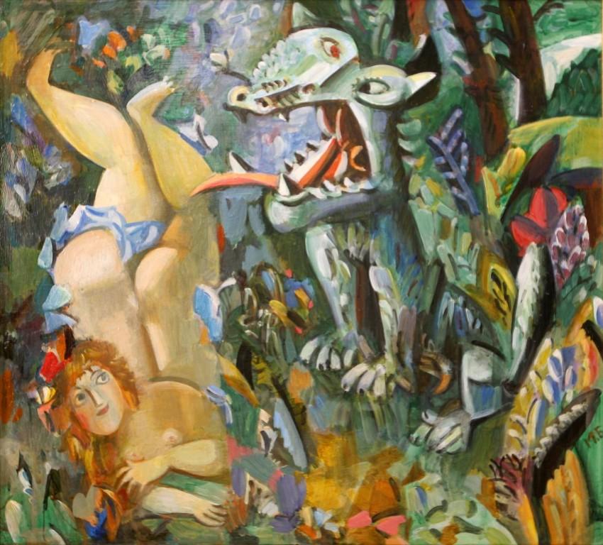 Миша Брусиловский.       Красная шапочка и серый волк.      2000 г.  Холст, масло. 50х50 см