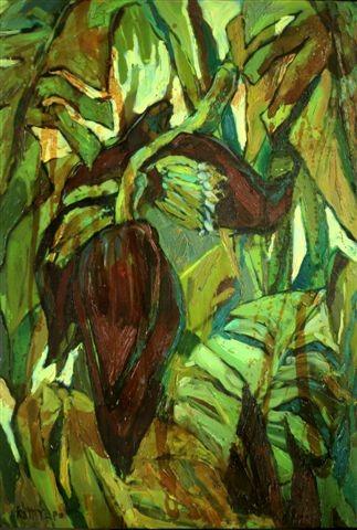 Катерина Поединщикова.    Цветок банана.            2013 г.    Холст, масло.96х67 см.