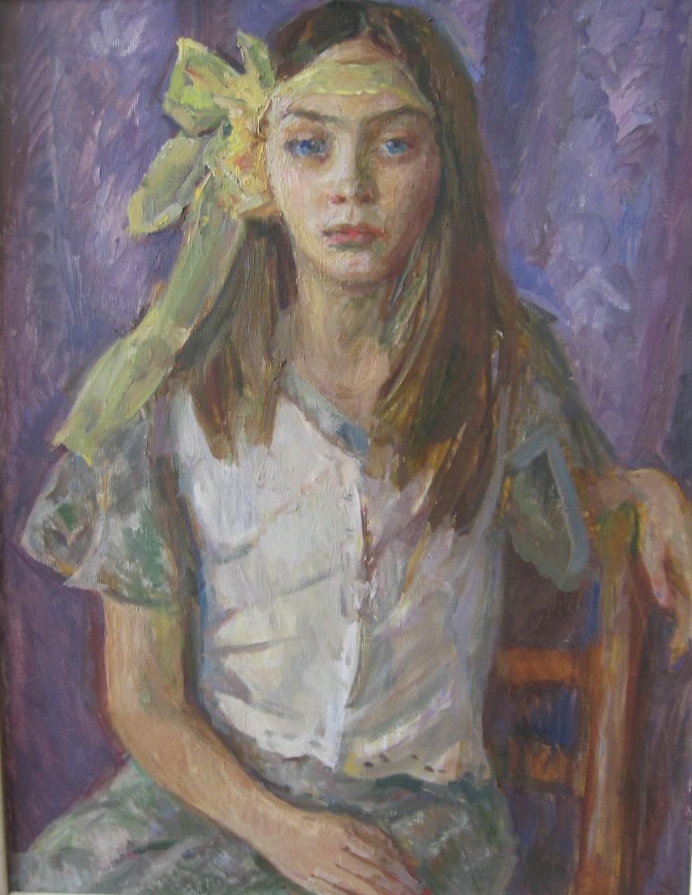 Людмила Сгибнева.     Ксюша.     2003 г.     Холст, масло.     2014 г.    50х60 см.
