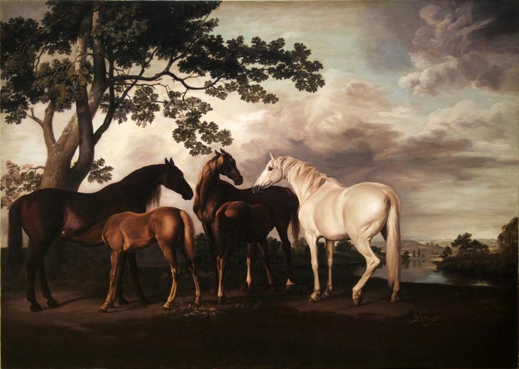 "Александр Булайчик.     Копия с картины Стабса ""Пейзаж с лошадьми"".     2006 г. Холст, масло. 60х80 см."